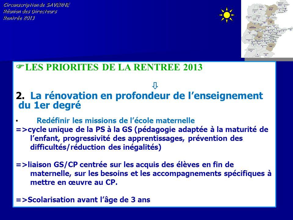 Circonscription de SAVERNE Réunion des Directeurs Rentrée 2013 LES PRIORITES DE LA RENTREE 2013 2.La rénovation en profondeur de lenseignement du 1er