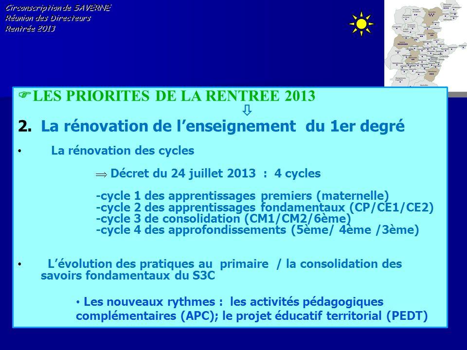 Circonscription de SAVERNE Réunion des Directeurs Rentrée 2013 LES PRIORITES DE LA RENTREE 2013 2.La rénovation de lenseignement du 1er degré La rénov