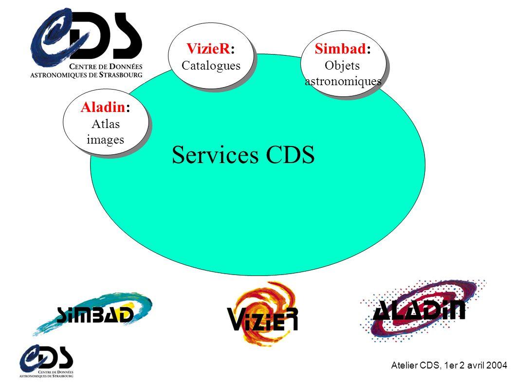 Atelier CDS, 1er 2 avril 2004 Services CDS Aladin: Atlas images VizieR: Catalogues Simbad: Objets astronomiques