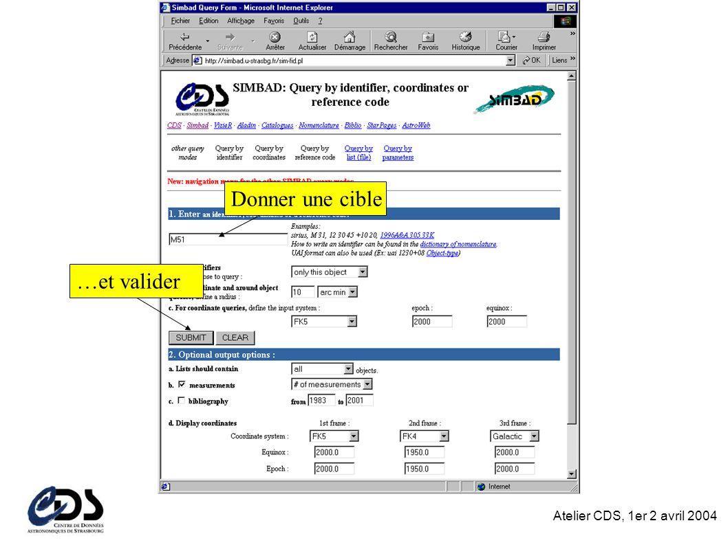 Atelier CDS, 1er 2 avril 2004 Donner une cible …et valider