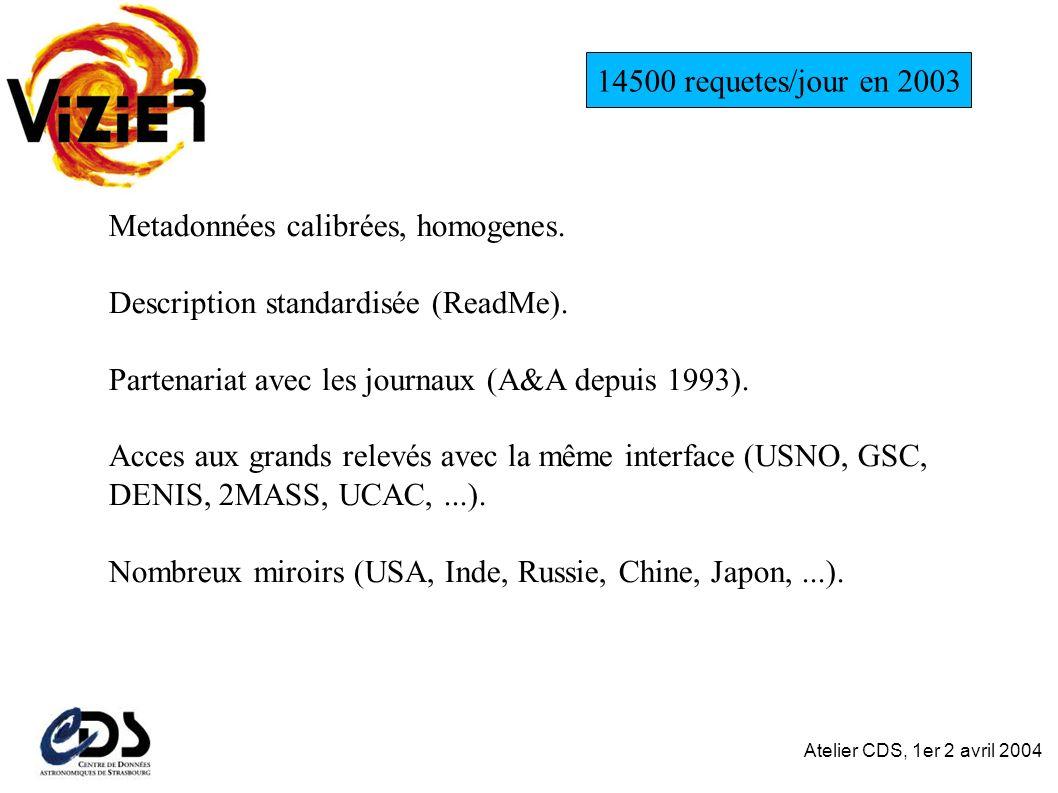Atelier CDS, 1er 2 avril 2004 Metadonnées calibrées, homogenes.