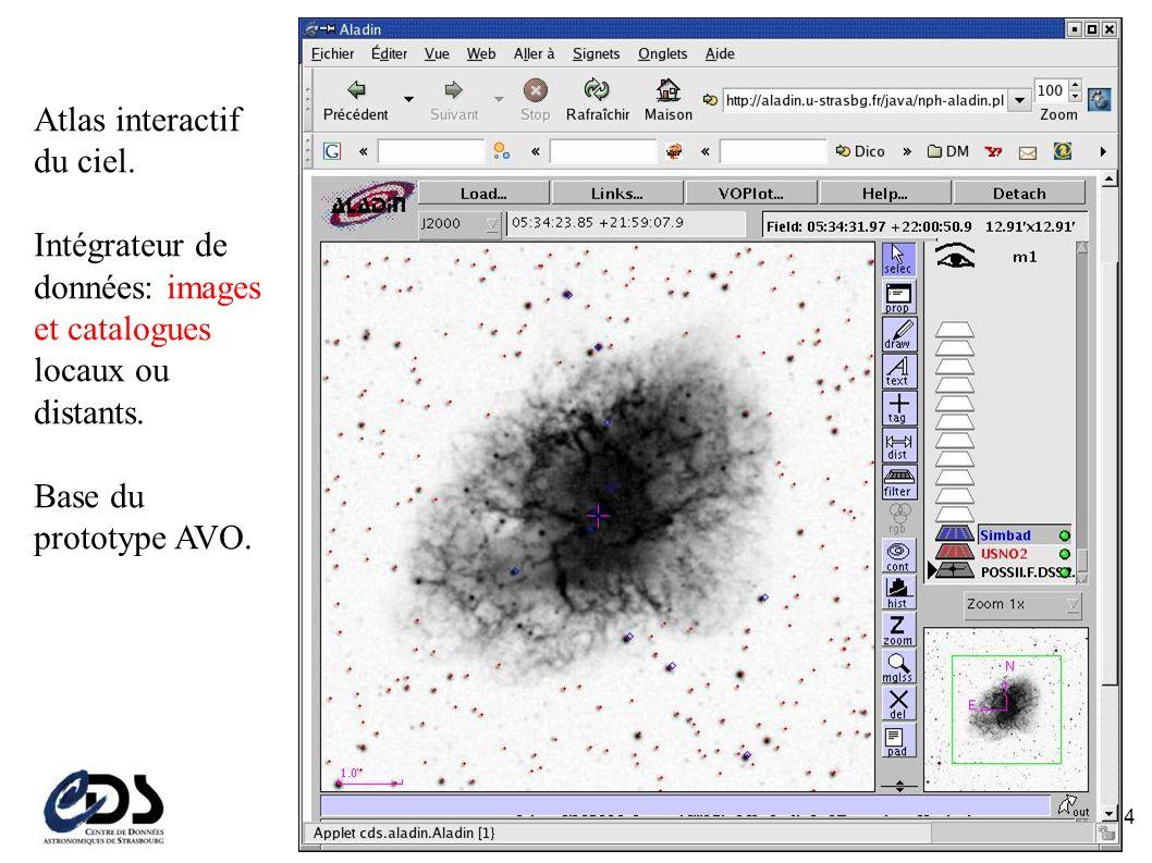 Atlas interactif du ciel. Intégrateur de données: images et catalogues locaux ou distants.