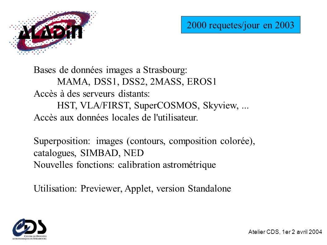 Atelier CDS, 1er 2 avril 2004 Bases de données images a Strasbourg: MAMA, DSS1, DSS2, 2MASS, EROS1 Accès à des serveurs distants: HST, VLA/FIRST, SuperCOSMOS, Skyview,...