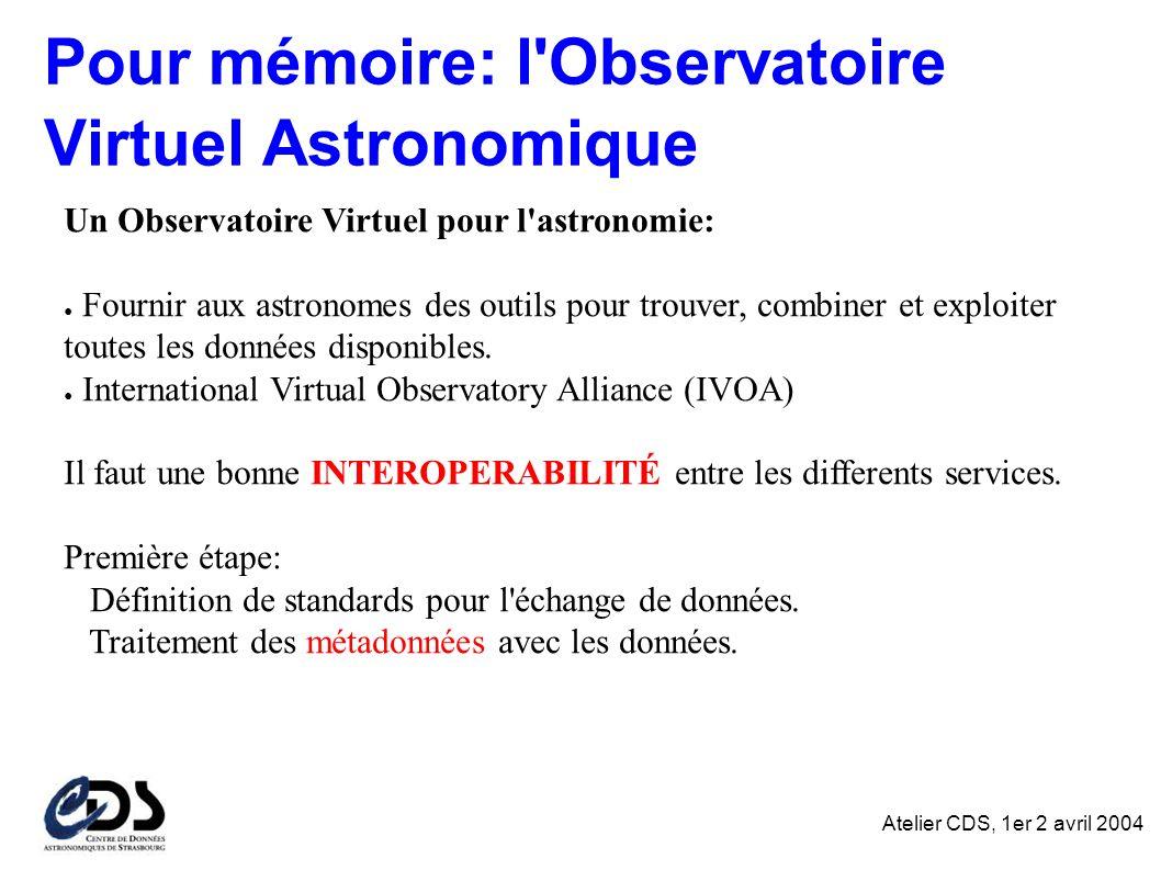 Atelier CDS, 1er 2 avril 2004 Pour mémoire: l Observatoire Virtuel Astronomique Un Observatoire Virtuel pour l astronomie: Fournir aux astronomes des outils pour trouver, combiner et exploiter toutes les données disponibles.