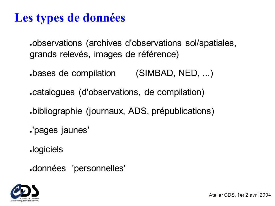 Atelier CDS, 1er 2 avril 2004 Résultat : HTML TSV VOTable ASCII