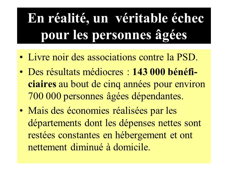 En réalité, un véritable échec pour les personnes âgées Livre noir des associations contre la PSD.