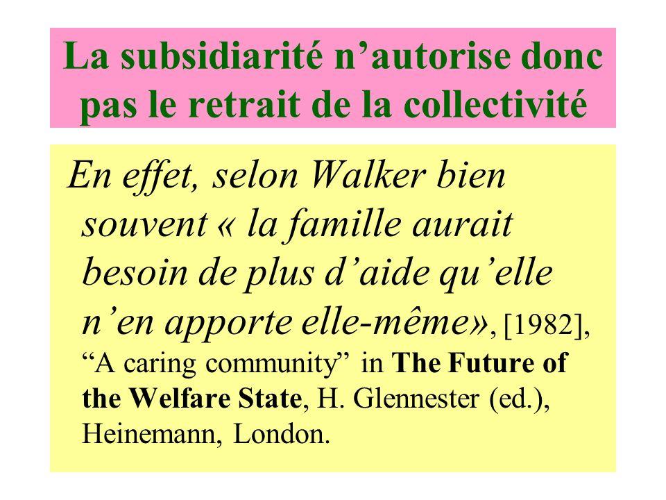 La subsidiarité nautorise donc pas le retrait de la collectivité En effet, selon Walker bien souvent « la famille aurait besoin de plus daide quelle nen apporte elle-même», [1982], A caring community in The Future of the Welfare State, H.