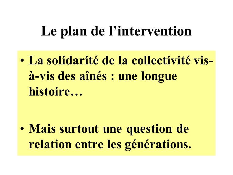 Le plan de lintervention La solidarité de la collectivité vis- à-vis des aînés : une longue histoire… Mais surtout une question de relation entre les générations.
