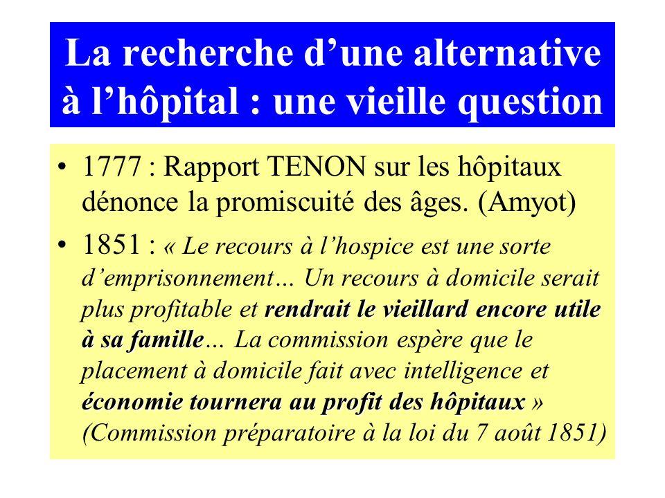 La recherche dune alternative à lhôpital : une vieille question 1777 : Rapport TENON sur les hôpitaux dénonce la promiscuité des âges.