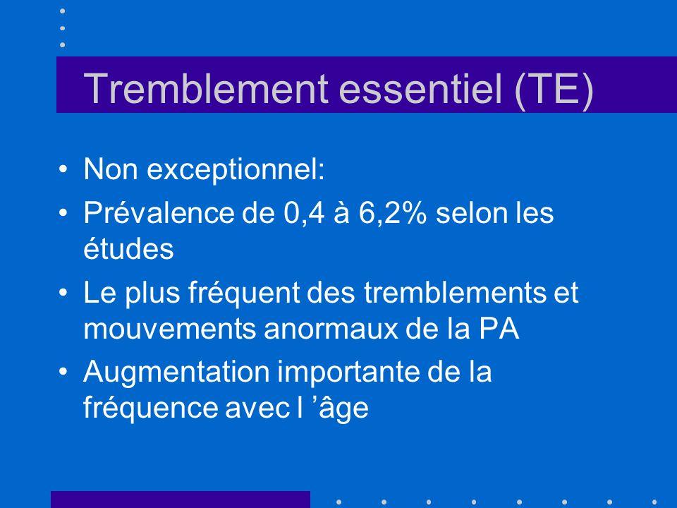 Tremblement essentiel (TE) Non exceptionnel: Prévalence de 0,4 à 6,2% selon les études Le plus fréquent des tremblements et mouvements anormaux de la