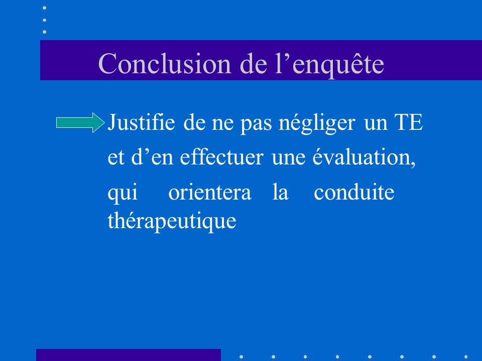 Conclusion de lenquête Justifie de ne pas négliger un TE et den effectuer une évaluation, qui orientera la conduite thérapeutique