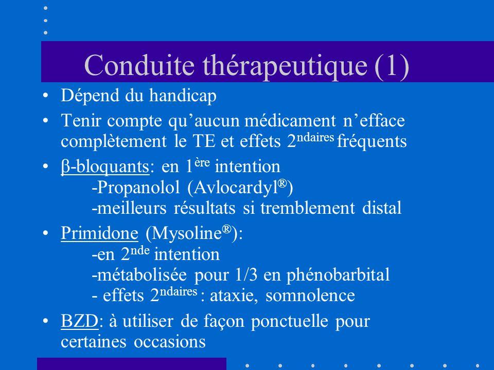 Conduite thérapeutique (1) Dépend du handicap Tenir compte quaucun médicament nefface complètement le TE et effets 2 ndaires fréquents β-bloquants: en