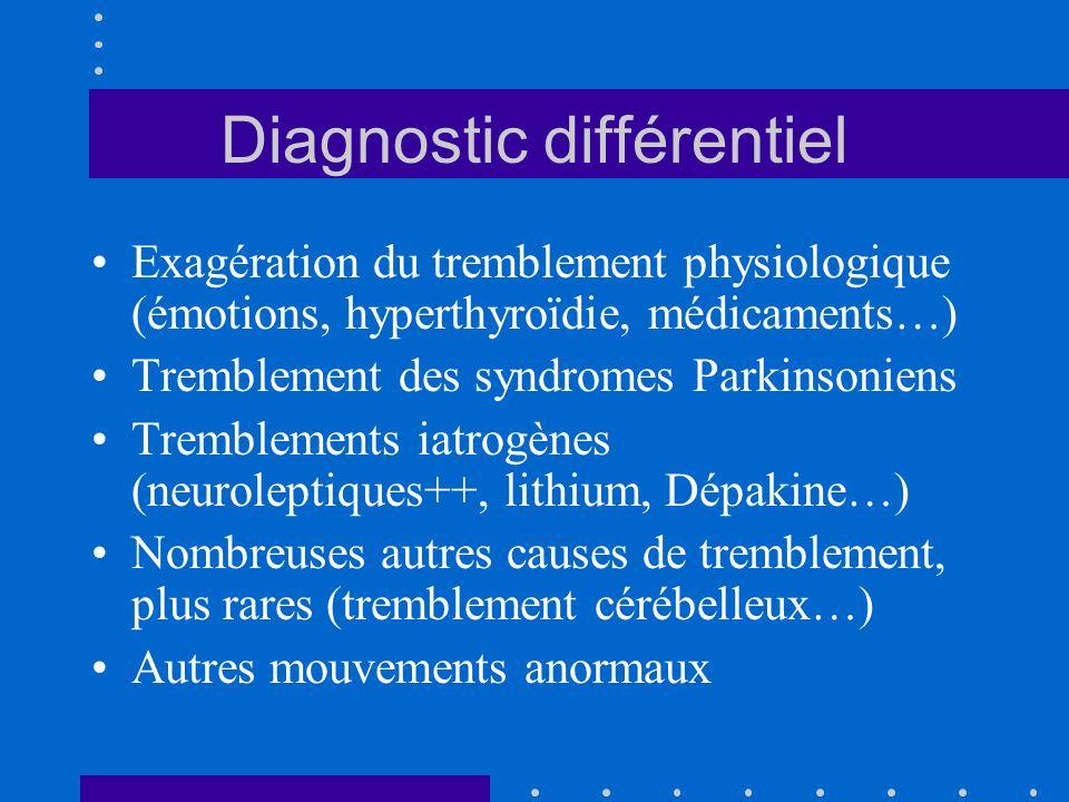 Diagnostic différentiel Exagération du tremblement physiologique (émotions, hyperthyroïdie, médicaments…) Tremblement des syndromes Parkinsoniens Trem