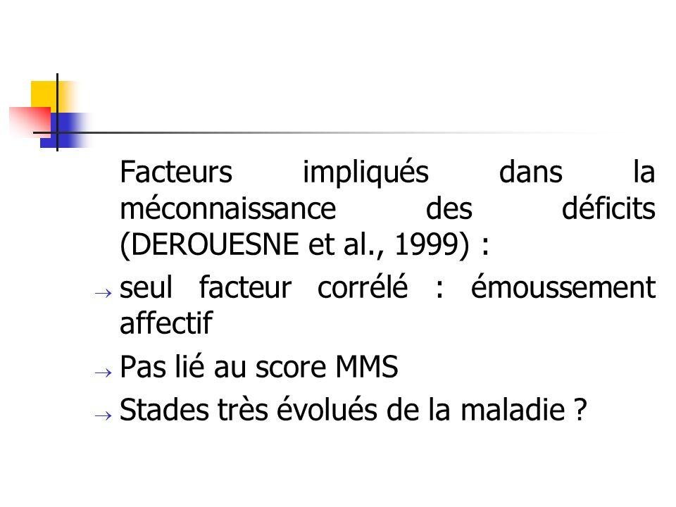 Conséquences de lanosognosie sur la prise en charge : Pas de difficulté particulière « en soi » Difficultés liées à la réaction de lentourage : Aggravation du déni Opposition Agressivité