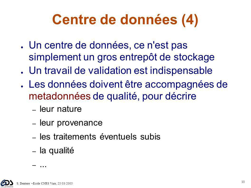 S. Derriere –Ecole CNRS Vars, 25/03/2005 9 1980 - Bande magnétique 1975 - Carte perforée 1974 - Disque dur 400ko 2005 - DD 200Go CDrom 700Mo Stockage