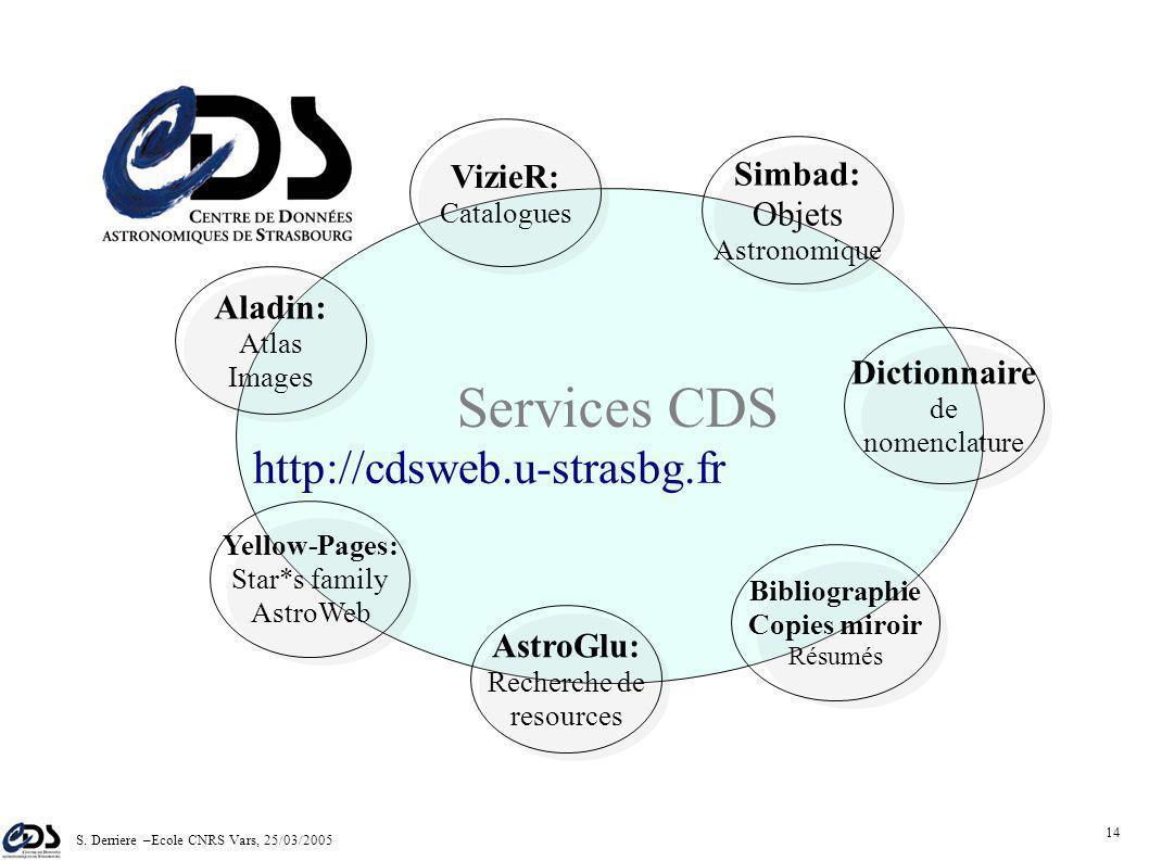 S. Derriere –Ecole CNRS Vars, 25/03/2005 13 Activités du CDS (3) Développement de bases de données, et interfaces d'accès Accords internationaux (ESA,