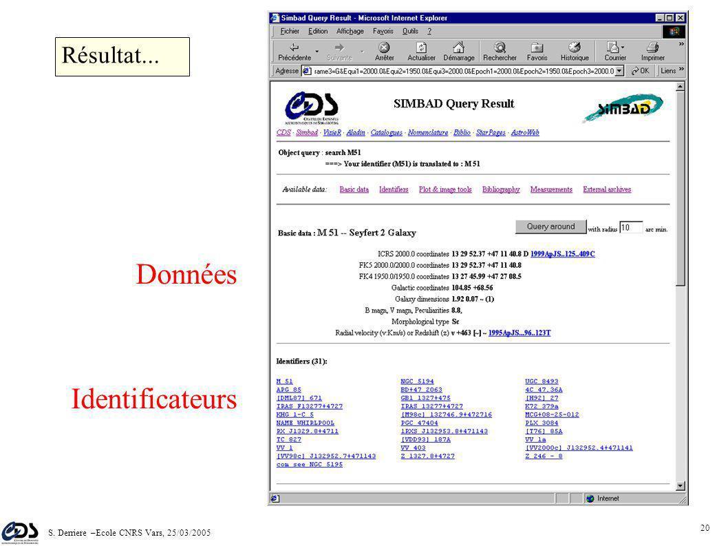 S. Derriere –Ecole CNRS Vars, 25/03/2005 19 Donner une cible …et valider Interface Web SIMBAD
