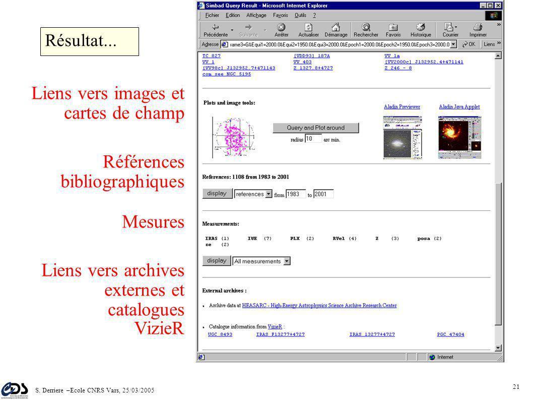 S. Derriere –Ecole CNRS Vars, 25/03/2005 20 Données Identificateurs Résultat...