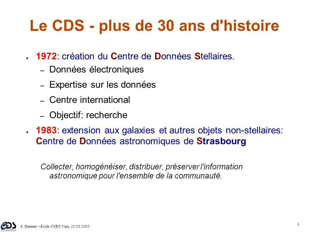 S. Derriere –Ecole CNRS Vars, 25/03/2005 2 Plan Introduction Les principaux services du CDS: Le CDS dans l'Observatoire Virtuel Démo