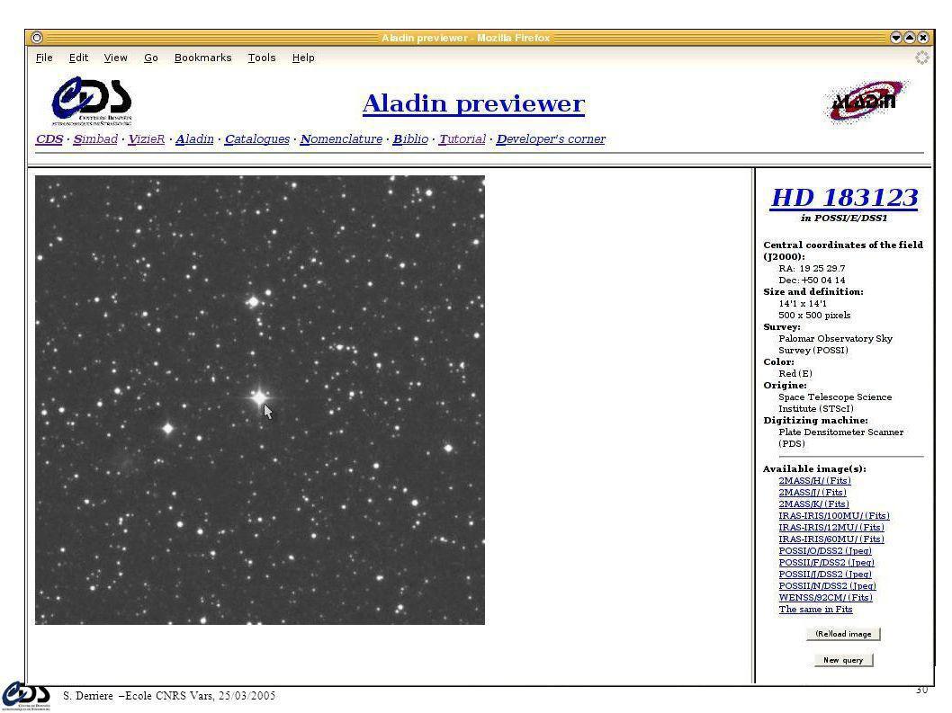 S. Derriere –Ecole CNRS Vars, 25/03/2005 29 Carte de champ des objets SIMBAD