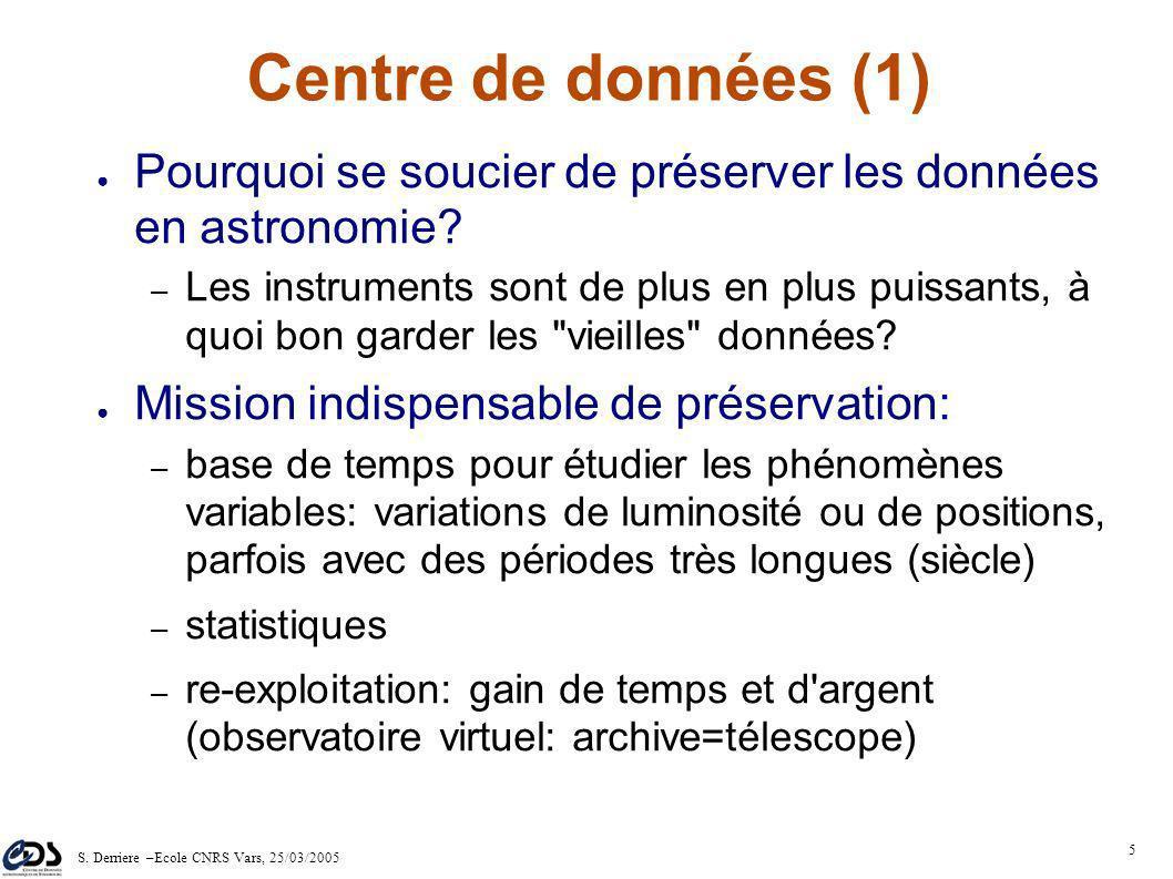 S. Derriere –Ecole CNRS Vars, 25/03/2005 4 Le CDS - plus de 30 ans d'histoire 1993/94: révolution du WWW 2001: le CDS participe aux projets d'observat