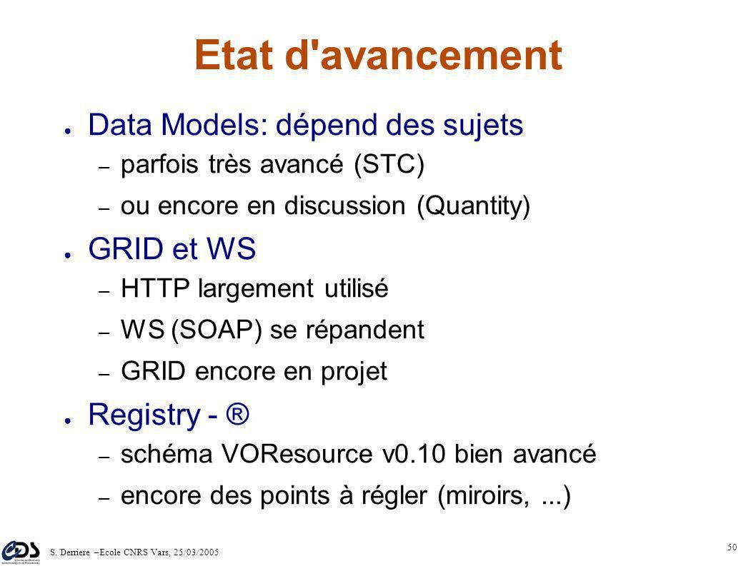 S. Derriere –Ecole CNRS Vars, 25/03/2005 49 Utilisation VOTable/UCD Il n'est pas nécessaire pour les fournisseurs de données de stocker les catalogues