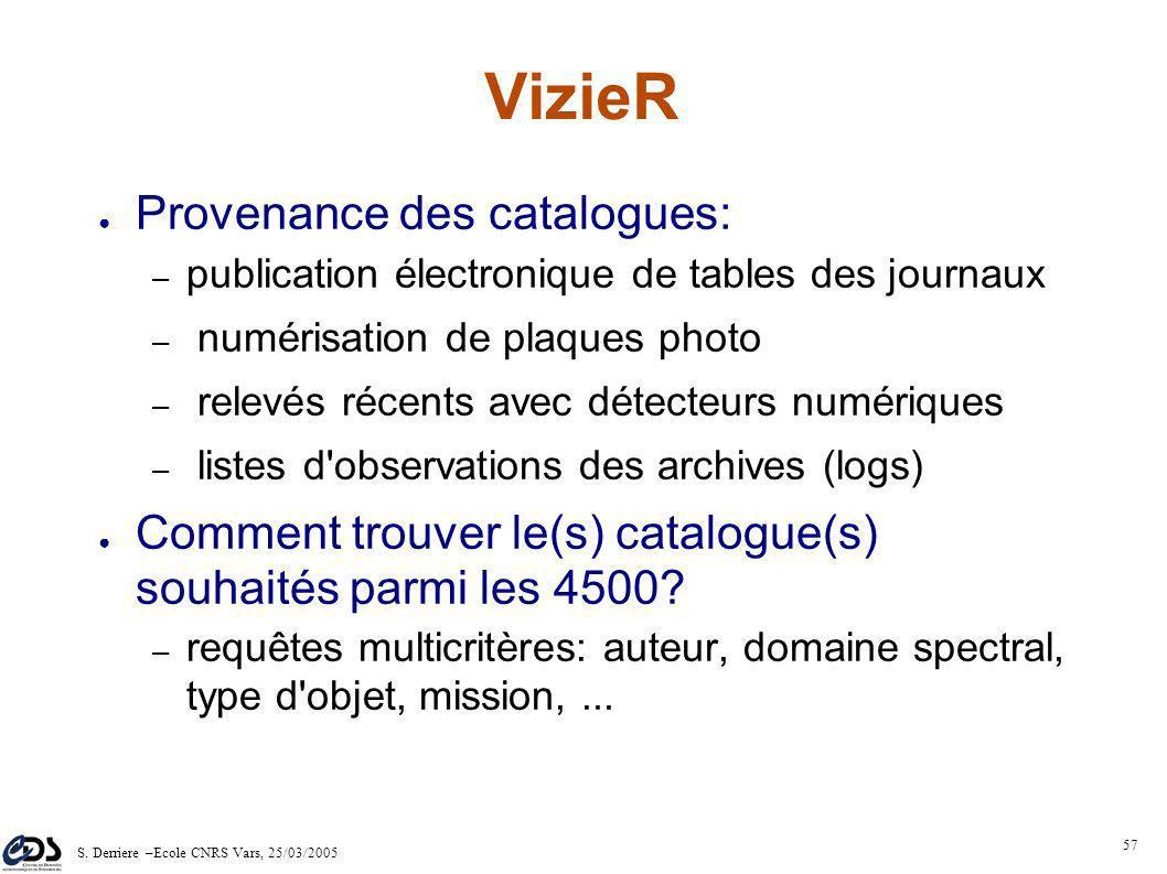 S. Derriere –Ecole CNRS Vars, 25/03/2005 56 1994 : 680 catalogues - 3Go 2004 : 4000 catalogues - (210 Go, jusqu'à un milliard de sources pour l'USNOB1