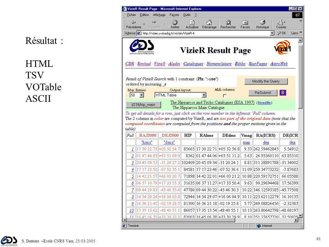 S. Derriere –Ecole CNRS Vars, 25/03/2005 60 Ex: Catalogue HIPPARCOS Contraintes sur colonnes Recherche par position ou nom Possibilité de requêtes sur