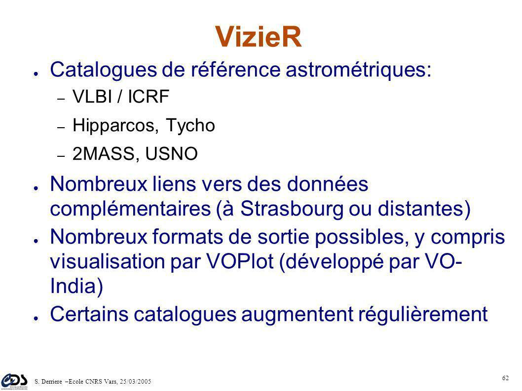 S. Derriere –Ecole CNRS Vars, 25/03/2005 61 Résultat : HTML TSV VOTable ASCII