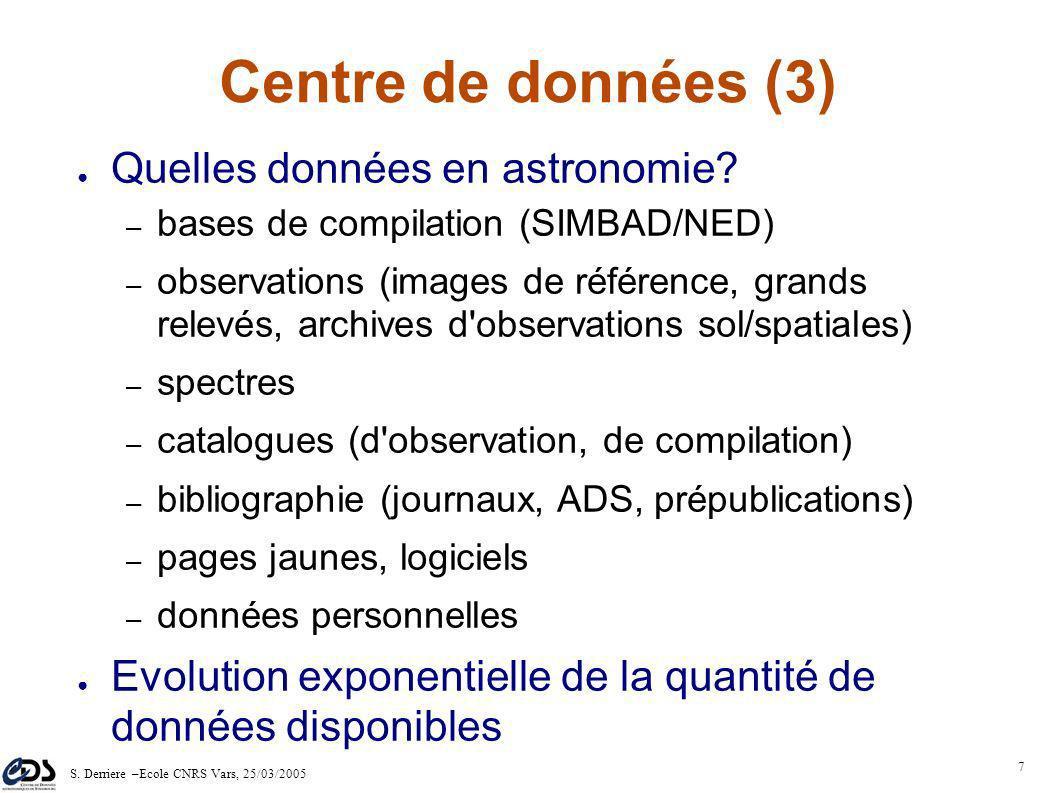 S. Derriere –Ecole CNRS Vars, 25/03/2005 6 Centre de données (2) Astronomie multi-longueur d'ondes – processus physiques, utilisation par des non- spé