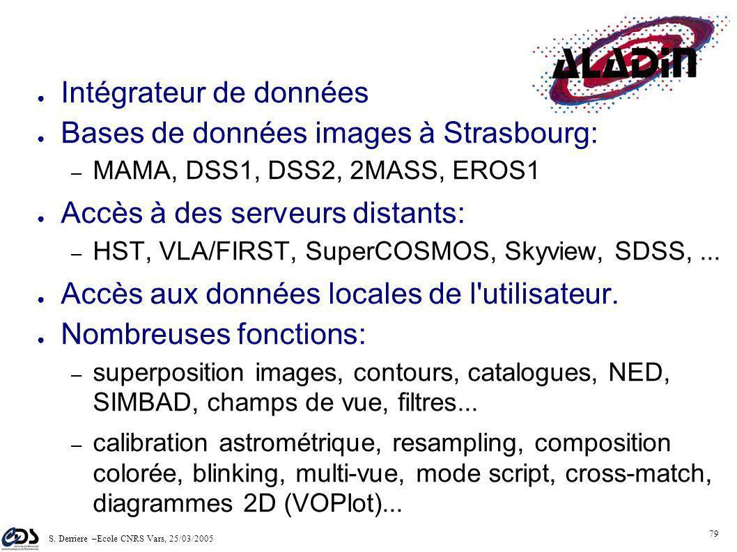 S. Derriere –Ecole CNRS Vars, 25/03/2005 78 2000 requetes/jour en 2003 Le plus récent des 3 services: 1997 Deux aspects: – serveur images – interface