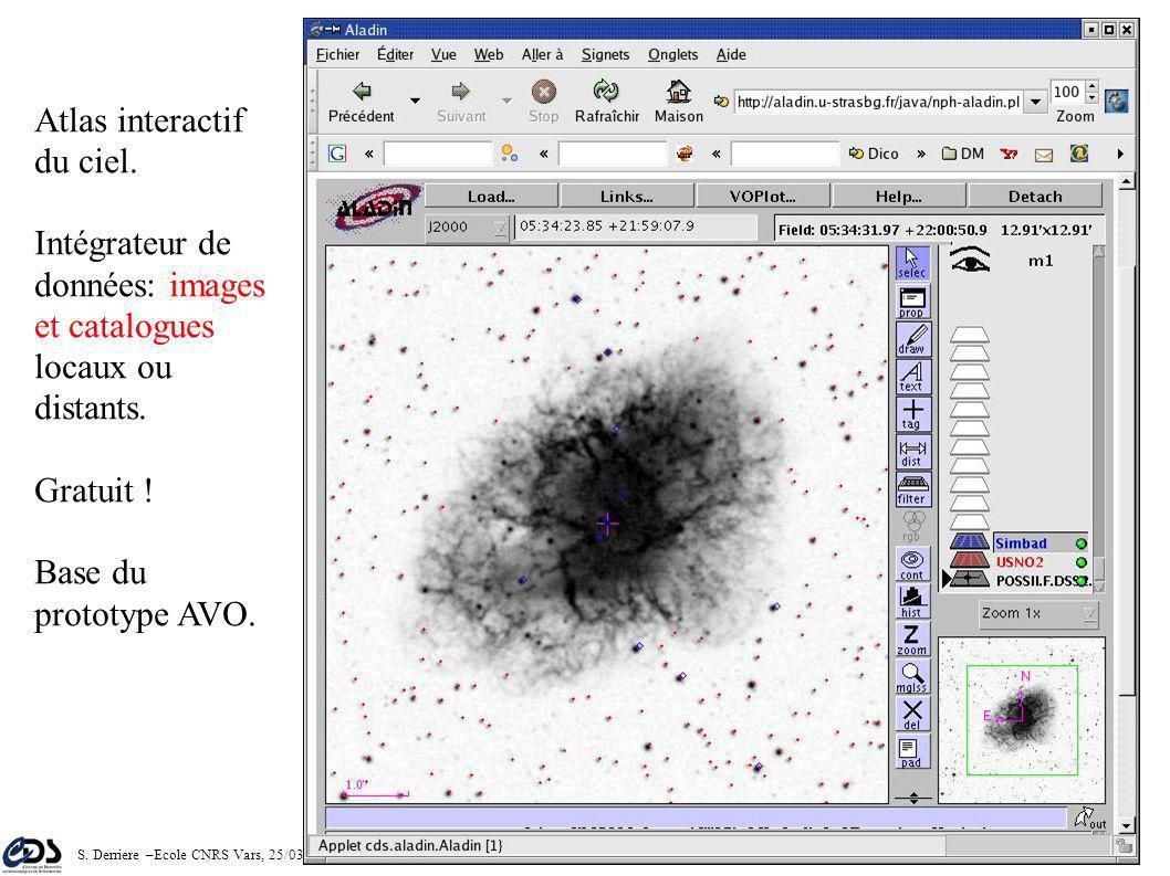 S. Derriere –Ecole CNRS Vars, 25/03/2005 79 Intégrateur de données Bases de données images à Strasbourg: – MAMA, DSS1, DSS2, 2MASS, EROS1 Accès à des