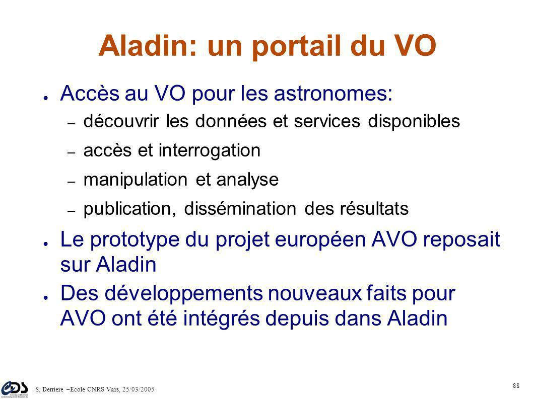 S. Derriere –Ecole CNRS Vars, 25/03/2005 87 Le CDS et l'Observatoire Virtuel De par son expérience, le CDS est un des acteurs principaux de la constru