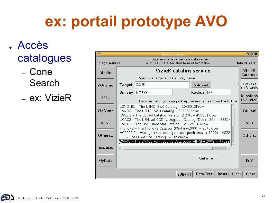 S. Derriere –Ecole CNRS Vars, 25/03/2005 91 ex: portail prototype AVO Accès spectres – DAL: SSA – ex: méta- données serveur ESO