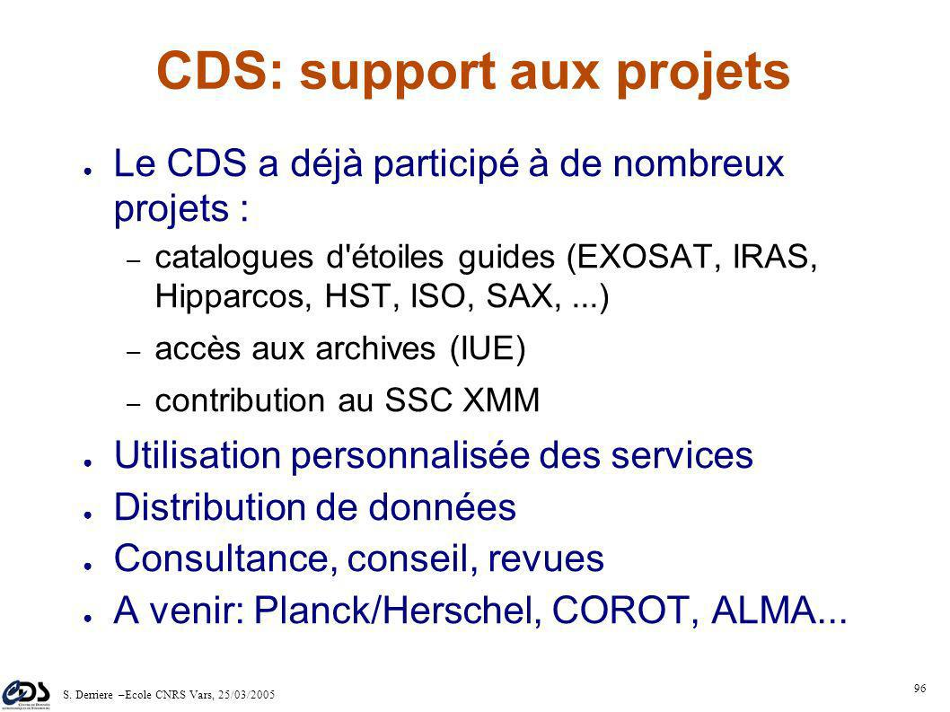 S. Derriere –Ecole CNRS Vars, 25/03/2005 95 1.Harvesting from STScI 2.