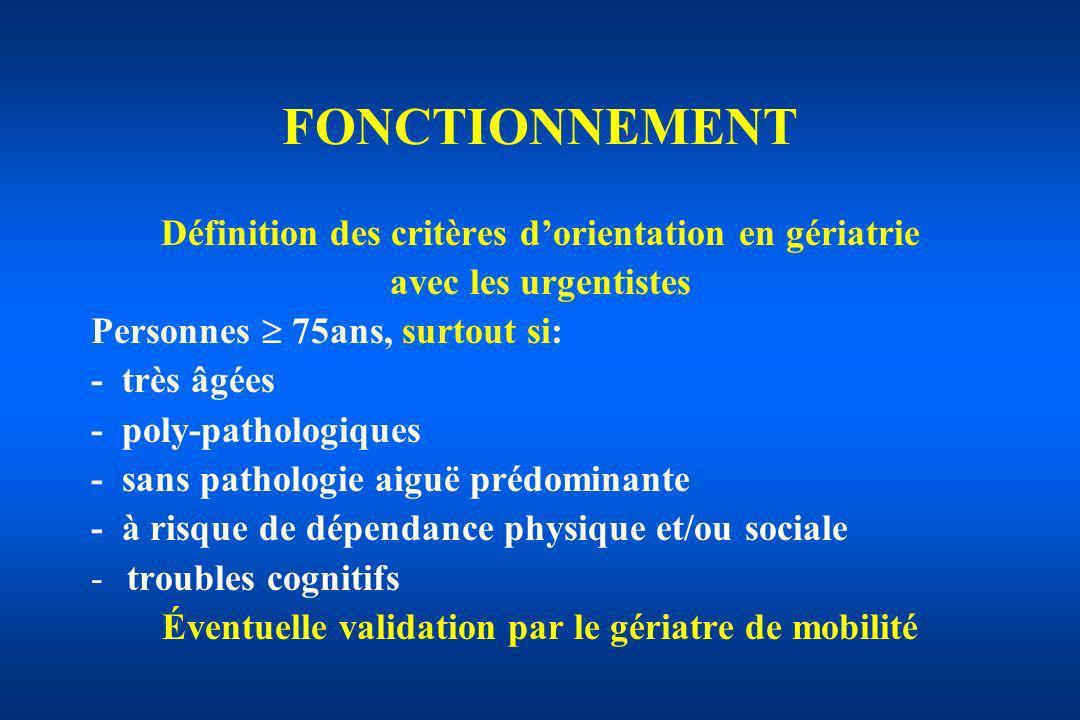 Définition des critères dorientation en gériatrie avec les urgentistes Personnes 75ans, surtout si: - très âgées - poly-pathologiques - sans pathologi