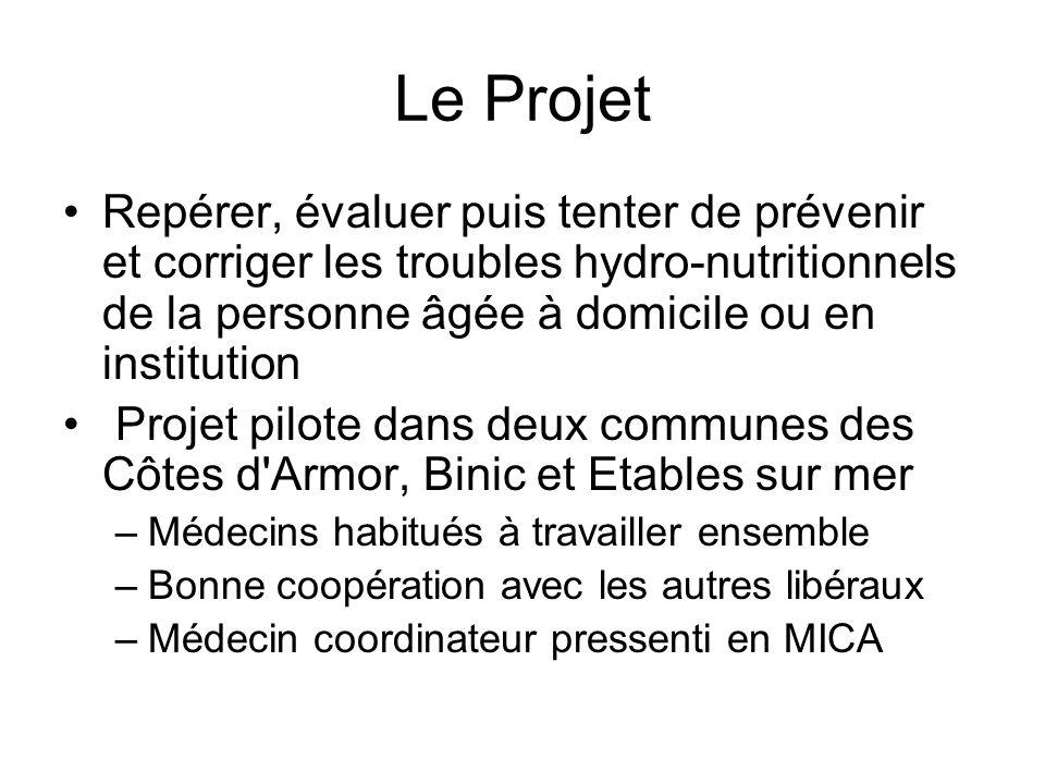 Le Projet Repérer, évaluer puis tenter de prévenir et corriger les troubles hydro-nutritionnels de la personne âgée à domicile ou en institution Proje