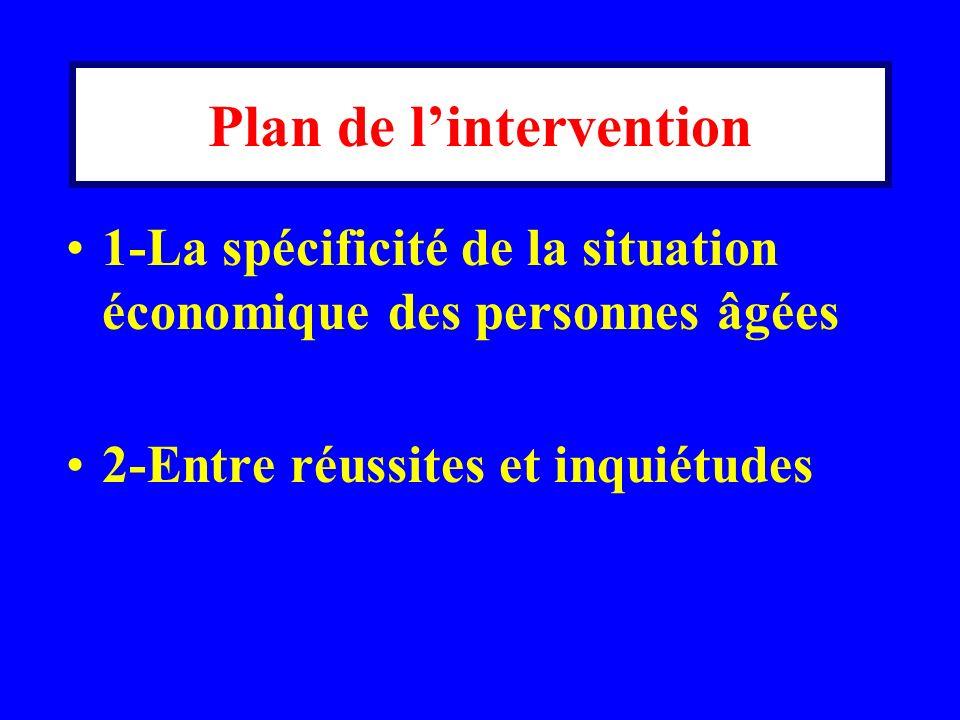 Plan de lintervention 1-La spécificité de la situation économique des personnes âgées 2-Entre réussites et inquiétudes