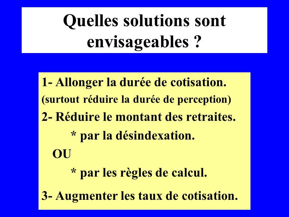 Quelles solutions sont envisageables ? 1- Allonger la durée de cotisation. (surtout réduire la durée de perception) 2- Réduire le montant des retraite