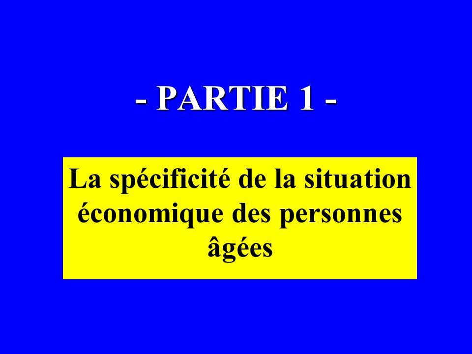 - PARTIE 1 - La spécificité de la situation économique des personnes âgées