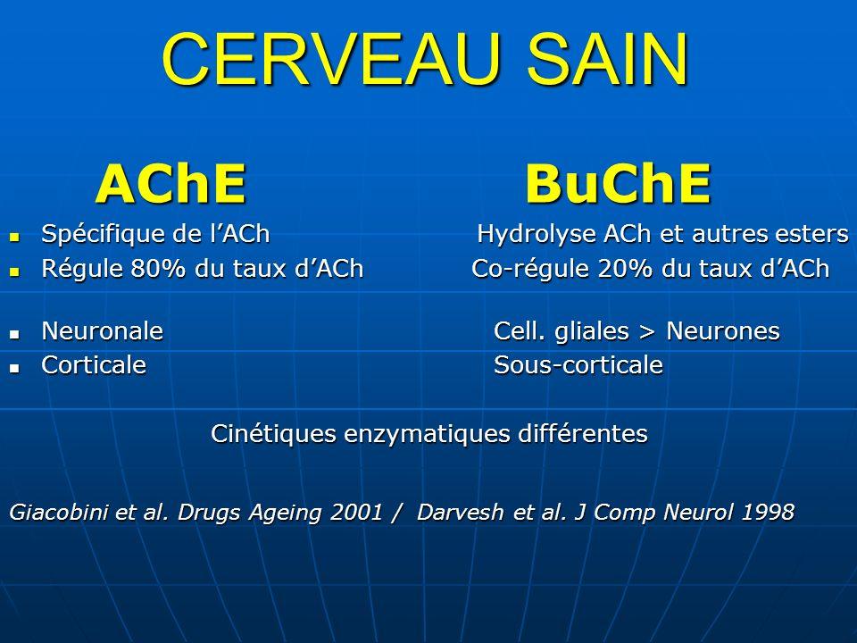 CERVEAU SAIN AChEBuChE Spécifique de lACh Hydrolyse ACh et autres esters Spécifique de lACh Hydrolyse ACh et autres esters Régule 80% du taux dACh Co-