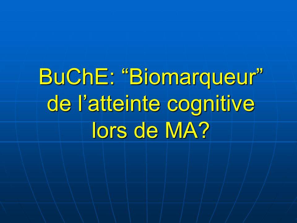 BuChE: Biomarqueur de latteinte cognitive lors de MA?