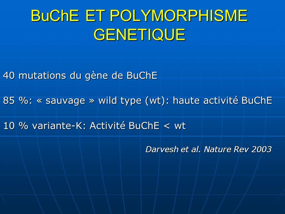 BuChE ET POLYMORPHISME GENETIQUE 40 mutations du gène de BuChE 85 %: « sauvage » wild type (wt): haute activité BuChE 10 % variante-K: Activité BuChE