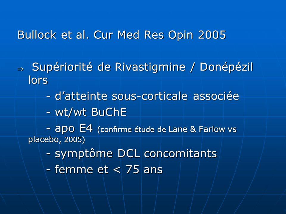 Bullock et al. Cur Med Res Opin 2005 Supériorité de Rivastigmine / Donépézil lors Supériorité de Rivastigmine / Donépézil lors - datteinte sous-cortic