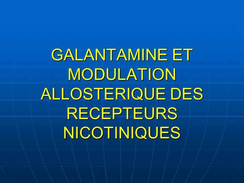ACh P NA +, Ca 2+, K + NCA: Non competitive allosteric activator site Galantamine Physostigmine Codeine Rn: préférentiellement dans les neurones de la voie cholinergique Rn postsynaptique: canal ionophore: si activé => flux du Na et Ca => Neurotransmission (PA) Rn présynaptique activé => flux de Na et Ca => facilitation de lexocytose des vésicules dACh Sur-stimulation de ces Rn => blocage de la transmission synaptique=phénomène de désensibilisation Rôle des Récepteurs nicotiniques (Rn) dans la voie cholinergique