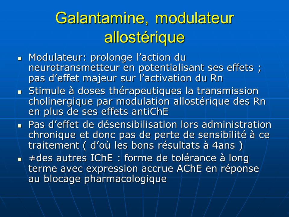 Galantamine, modulateur allostérique Modulateur: prolonge laction du neurotransmetteur en potentialisant ses effets ; pas deffet majeur sur lactivatio