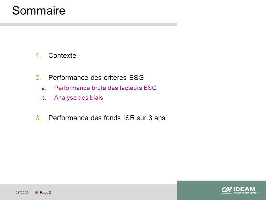 Page 203/2009 1.Contexte 2.Performance des critères ESG a.Performance brute des facteurs ESG b.Analyse des biais 3.Performance des fonds ISR sur 3 ans Sommaire