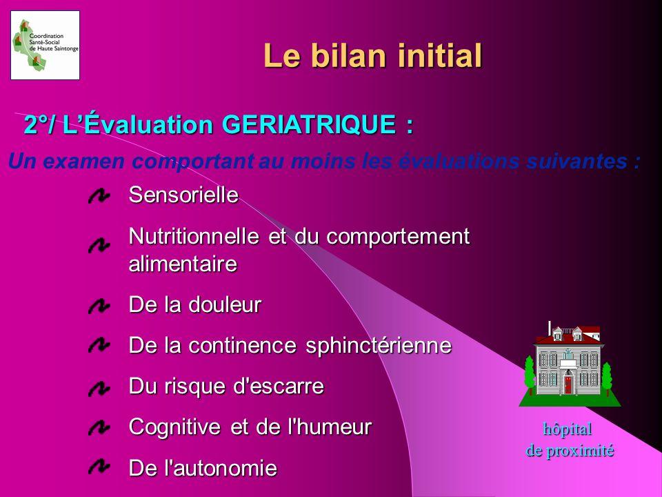Un examen comportant au moins les évaluations suivantes : Sensorielle Nutritionnelle et du comportement alimentaire De la douleur De la continence sph