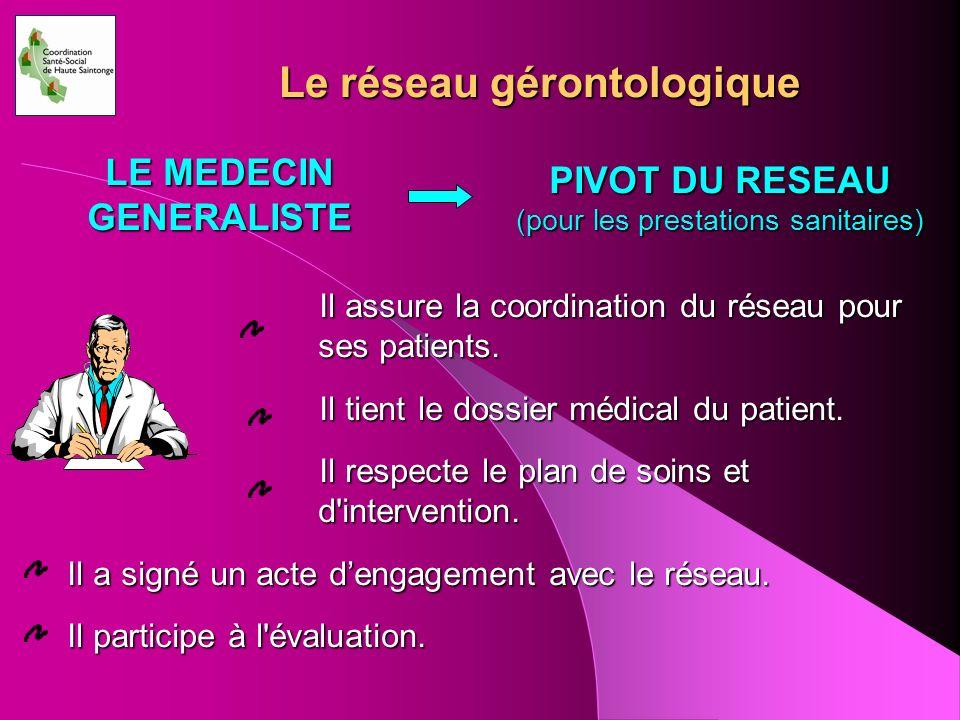 Le réseau gérontologique Il assure la coordination du réseau pour ses patients. Il tient le dossier médical du patient. Il tient le dossier médical du