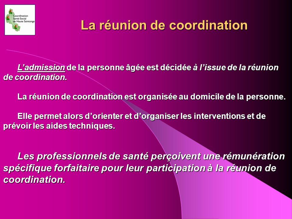 La réunion de coordination Ladmission de la personne âgée est décidée à lissue de la réunion de coordination. La réunion de coordination est organisée